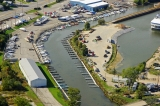 aerial imagery of Sprague Pointe Marina Michigan City IN US