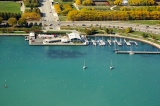 aerial imagery of Monroe Harbor, the Chicago Harbors Chicago IL US