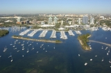 aerial imagery of Dinner Key Marina in the heart of Miami Miami FL US