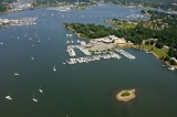 aerial imagery of Mystic River Marina Mystic CT US