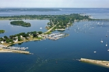 aerial imagery of Pirate Cove Marina & Yacht Sales, Inc. Portsmouth RI US