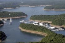 aerial imagery of State Dock Marina on Lake Cumberland, a Suntex Marina Jamestown KY US