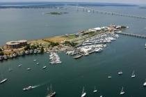 aerial imagery of Goat Island Marina, located in the heart of Newport Harbor Newport RI US