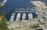 aerial imagery of Great Lakes Marina Muskegon MI US