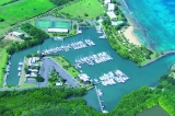 aerial imagery of Green Cay Marina at Tamarind Reef Resort Christiansted St. Croix, USVI VI