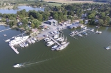 aerial imagery of Campbell's Boatyard at Jack's Point Oxford MD US