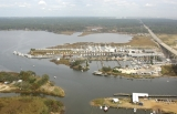 aerial imagery of Dog River Marina Mobile AL US