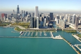 aerial imagery of DuSable Harbor, the Chicago Harbors Chicago IL US