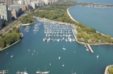 aerial imagery of Belmont Harbor, the Chicago Harbors Chicago IL US