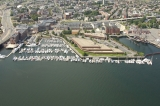aerial imagery of Constitution Marina, Boston Harbor Boston MA US