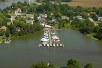 aerial imagery of Campbell's Town Creek Boatyard Oxford MD US