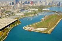 aerial imagery of Burnham Harbor, the Chicago Harbors Chicago IL US