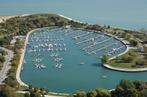 aerial imagery of Montrose Harbor, the Chicago Harbors Chicago IL US