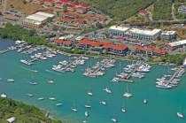 aerial imagery of American Yacht Harbor Marina St. Thomas USVI VI