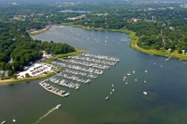 aerial imagery of Apponaug Harbor Marina Warwick RI US